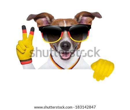 german soccer dog  with peace victory fingers