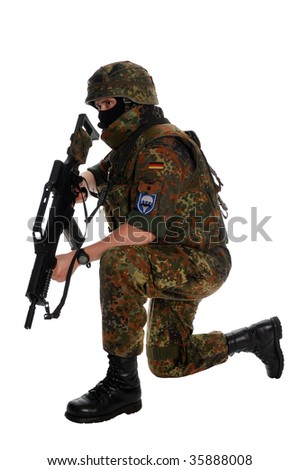 German soldier with the weapon.