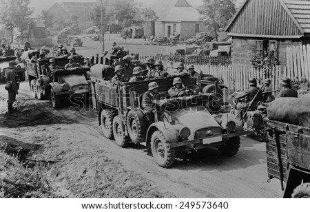 German soldiers invade Poland in armored and motorized divisions in Sept. 1939. It was the beginning of World War 2. in Europe. - stock photo