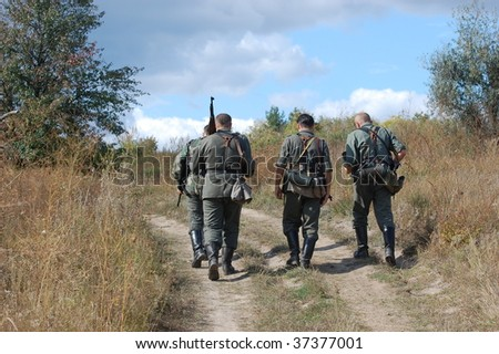German soldiers of WW2 - stock photo