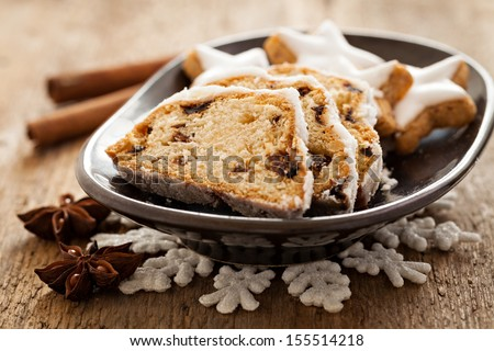 german stollen with cookies and spices