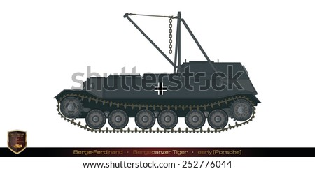 German tank from the second world war. Tank collection. Berge-Ferdinand - Bergepanzer - Tiger (porsche). - stock photo