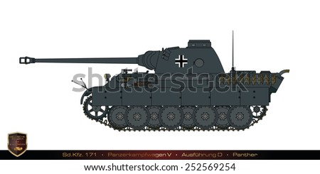 German tank from the second world war. Tank collection. Sd Kfz 171 - Panzer Kampfwagen V - Ausfuehrung D - Panther. - stock photo