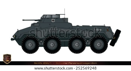 German tank from the second world war. Tank collection. Sd Kfz 234/1 - Schwerer Panzerspaehwagen 20mm. - stock photo