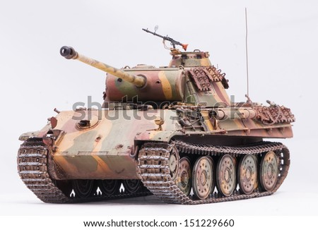 "German tank ""Panther"" in World War II at white background - stock photo"