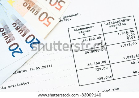 German tax bill in a studio shot, no personal information given