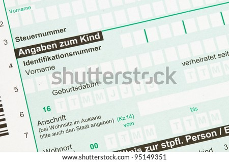 German tax form for children allowance
