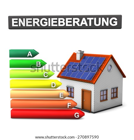 "German text ""Energieberatung"", translate ""Energy Consulting"". Energy scale with house on the white."