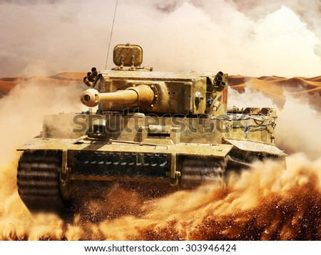 German Tiger moves in the desert - stock photo