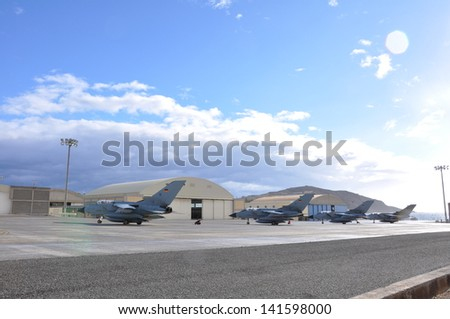 German Tornado jets parked on a ramp at Gando Air Base in the Canary islands of Spain - stock photo