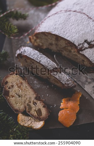 German traditional Christmas cake - stock photo