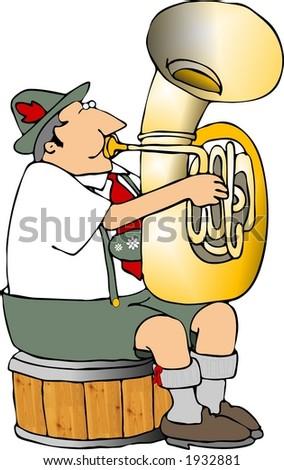 German tuba player - stock photo