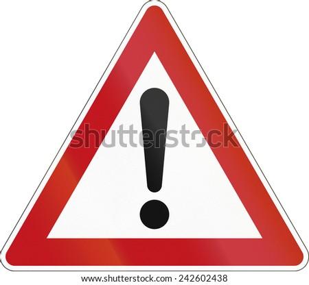 German warning sign for general dangers (Allgemeine Gefahrstelle). - stock photo
