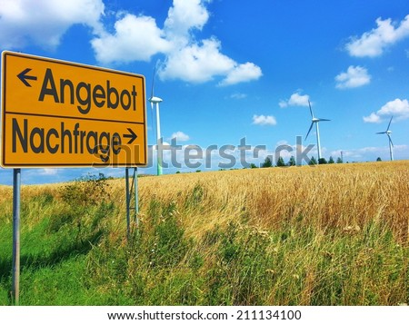 German words ANGEBOT / NACHFRAGE  (supply / demand) on a roadsign - stock photo