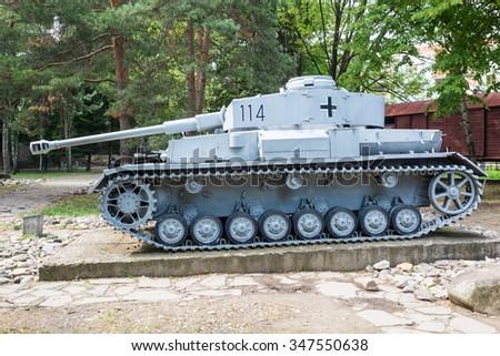 German WW2 tank on display in Banska Bystrica, Slovakia - stock photo