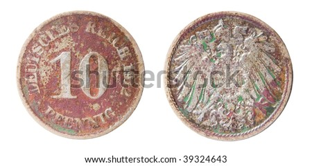 germanic 10 pfennig coin of 1912 - stock photo