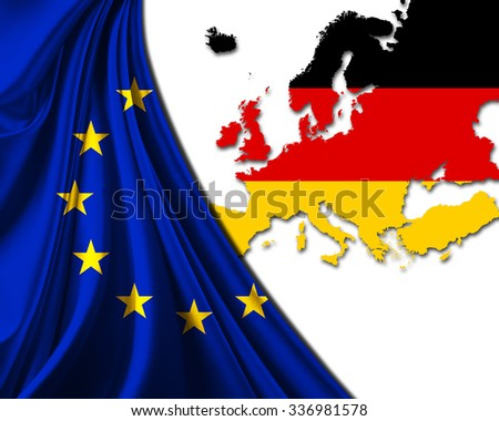 Germany and European Union Flag with Europe map background