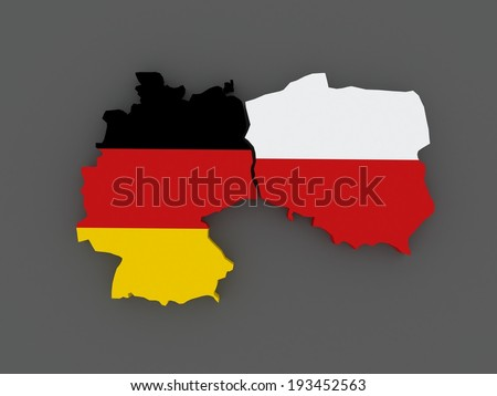 Germany and Poland. map. 3d