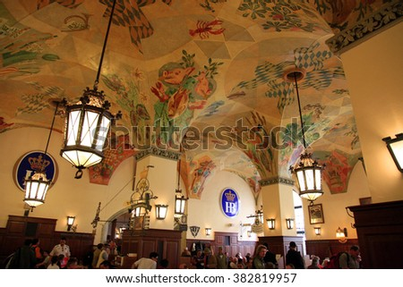 GERMANY - April 21, 2010 : Interior of the beer hall Hofbrauhaus in Munich, Germany. It is one of the biggest beer hall in Munich.