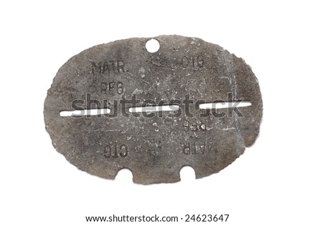 Germany at the Second World War.  Dog tag (identification army badge) of German soldier. Path on white background. - stock photo