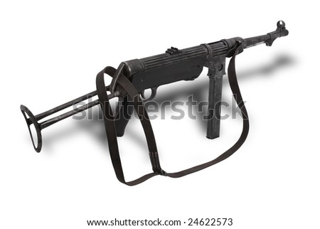 Germany at the WW2 German submachine gun MP38. The MP38 (40) is used extensively by paratroopers, platoon and squad leaders during World War II. - stock photo