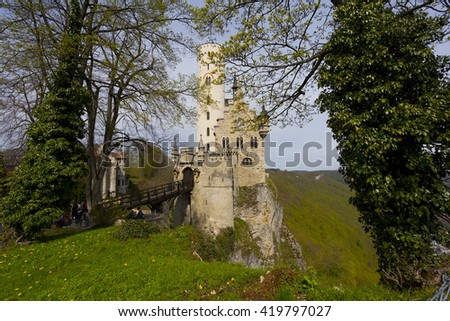 GERMANY - Baden-Wurttemberg; 09 APRIL 2016 ;The romantic castle of Lichtenstein in Baden-Wuertemberg in Germany