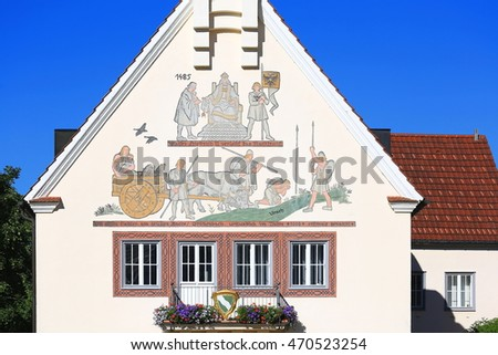 Germany, Bavaria, Bad Groenenbach, 2016/06/28, Monument in the city center