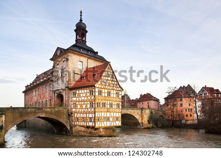 Germany, Bavaria, Bamberg, the city landscape with the river Regnitz - stock photo