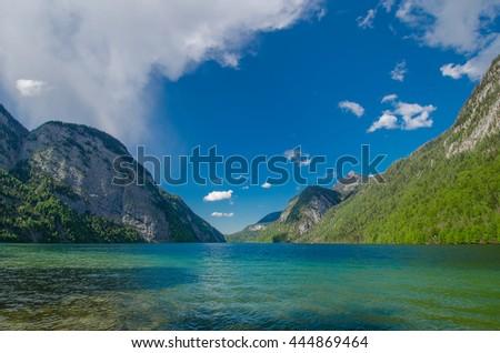 Germany, Bavaria, Lake, Water, Mountain, Alps - stock photo