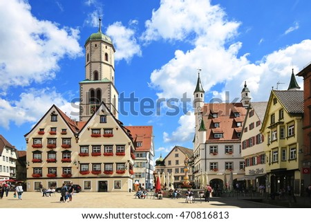 Germany, Bayern, Biberach, 2016/08/11, town center and market square of Biberach