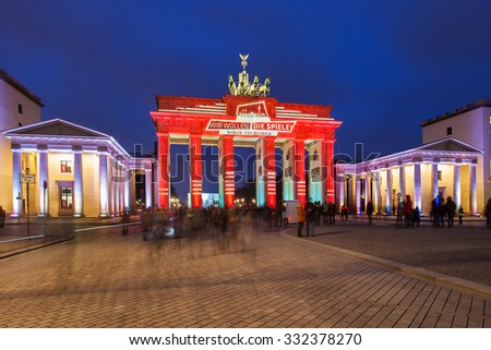 GERMANY, BERLIN - January 23, 2015: Brandenburger Tor (Brandenburg Gate), one of the best-known landmarks and national symbols of Germany, Pariser Platz, Berlin, Germany