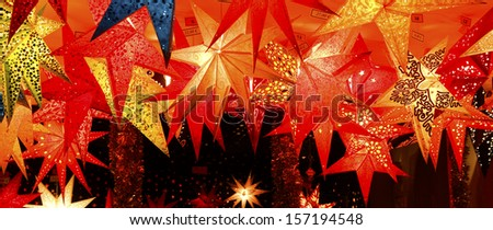 Germany / Capital Berlin. The very famous Christmas Market on the Gendarmenmarkt. Christmas stars for sale.  - stock photo