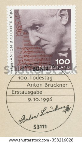 GERMANY - CIRCA 1996: A first day of issue postmark printed in Bonn, shows Anton Bruckner 1824-96), Composer, circa 1996 - stock photo
