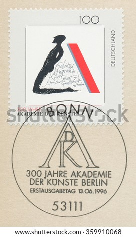 GERMANY - CIRCA 1996: A first day of issue postmark printed in Bonn, shows Symbolic Illustration, Academy of Arts in Berlin, 300th Anniversary, circa 1996 - stock photo