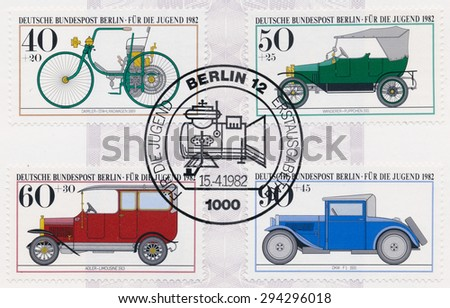 GERMANY - CIRCA 1982: A  first day of issue postmark printed in Germany, shows Antique Car Type: Daimler 1889, Wanderer 1911, Adler limousine 1913, DKW-F1 1931, circa 1982 - stock photo