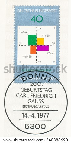 GERMANY - CIRCA 1977: A  first day of issue postmark printed in Germany, shows Gauss Plane of Complex Numbers, 25th Federal Horticultural Show, Stuttgart, Apr. 29-Oct. 23., circa 1977 - stock photo