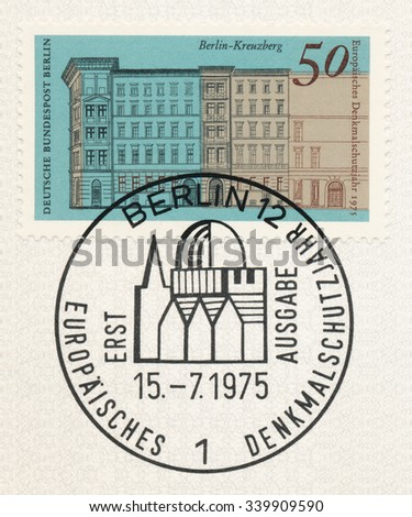 GERMANY - CIRCA 1975: A  first day of issue postmark printed in Germany, shows Houses, Naunynstrasse, Berlin-Kreuzberg, circa 1975 - stock photo