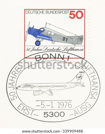 GERMANY - CIRCA 1976: A  first day of issue postmark printed in Germany, shows Junkers F13, 1926, Lufthansa, 50th anniversary, circa 1976 - stock photo