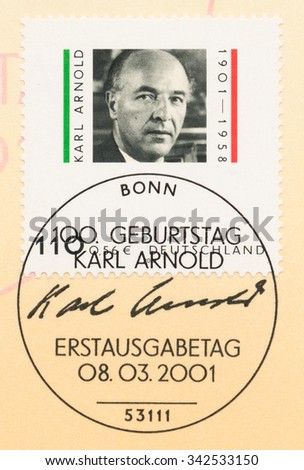GERMANY - CIRCA 2001: A  first day of issue postmark printed in Germany, shows Karl Arnold (1901-58), Politician, circa 2001 - stock photo