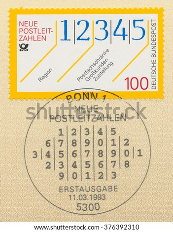 GERMANY - CIRCA 1993: A  first day of issue postmark printed in Germany, shows numeral, New Postal Codes, circa 1993 - stock photo