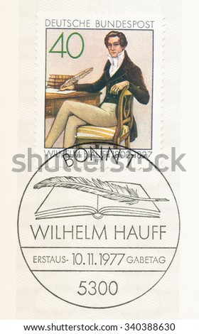 GERMANY - CIRCA 1977: A  first day of issue postmark printed in Germany, shows portrait of Wilhelm Hauff (1802-1827), writer and fabulist, 150th death anniversary, circa 1977 - stock photo