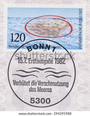 GERMANY - CIRCA 1982: A  first day of issue postmark printed in Germany, shows preventing the pollution of the sea, circa  1982 - stock photo