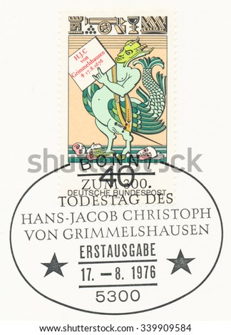 GERMANY - CIRCA 1976: A  first day of issue postmark printed in Germany, shows Simplicissimus Teutsch, written by Hans Jakob Christoffel von Grimmelshausen, circa 1976 - stock photo