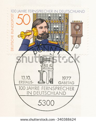 GERMANY - CIRCA 1977: A  first day of issue postmark printed in Germany, shows Telephone Operator and Switchboard, 1881, German telephone centenary, circa 1977 - stock photo