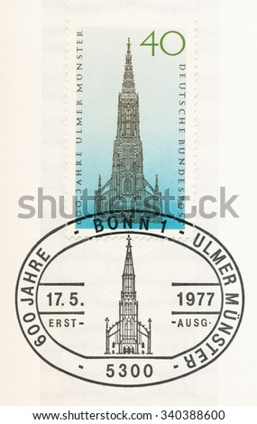 GERMANY - CIRCA 1977: A  first day of issue postmark printed in Germany, shows Ulm Cathedral, circa 1977 - stock photo
