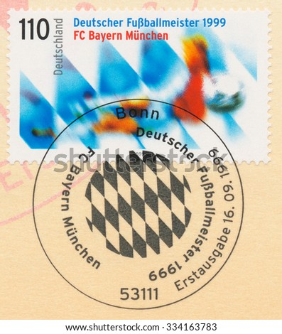 GERMANY - CIRCA 1999: A post stamp printed in Germany shows Bayern Munchen, 1999 German Soccer Champions, circa 1999