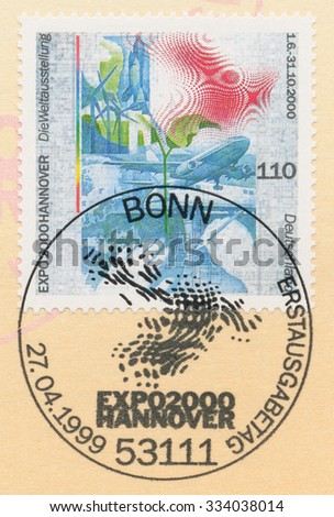GERMANY - CIRCA 1999: A post stamp printed in Germany shows Expo 2000, Hanover, circa 1999