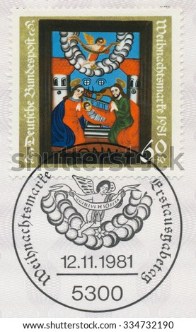 GERMANY - CIRCA 1981: A post stamp printed in Germany shows Nativity, 19th Cent. Painting, circa 1981 - stock photo