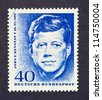 GERMANY -Â?Â? CIRCA 1964: a postage stamp printed in Germany showing an image of John Fitzgerald Kennedy, circa 1964. - stock photo