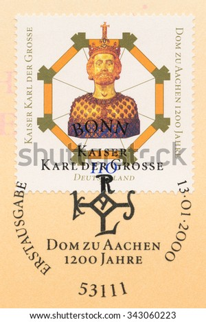 GERMANY - CIRCA 2000: A postage stamp printed in Germany, shows Kaiser Charlemagne, Completion of Aachen Cathedral, 1200th Anniv., circa 2000